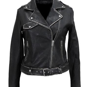Women's Sexy Wax Moto Leather Jacket - Limited Edition