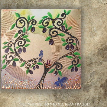 Tree of life Plum Painting on Canvas Love birds nest Art Blossom Landscape impasto Woodland Enchanted Forest flowers Floral family
