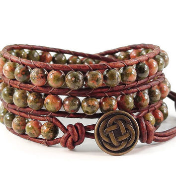 Leather Wrap Bracelet Unakite Gemstones Celtic Knot Beaded Jewelry