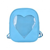 Cute Heart Transparent Backpack in Blue