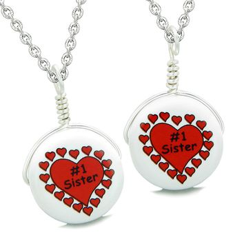Love Couples or Best Friends Set Cute Ceramic Number One Sister Lucky Charm Amulet Pendant Necklaces