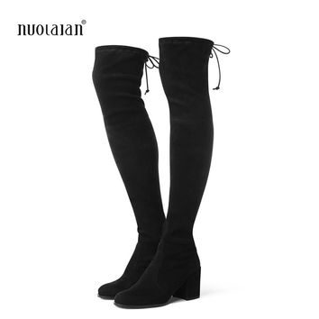 Women Over The Knee Boots Suede Thigh High Boots 2018 Autumn Winter Ladies Fashion Fur Warm high Heel Boots Snow Shoes Woman