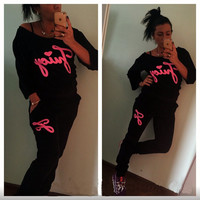 Black Graphic Print Sweatshirt and Pants Suit