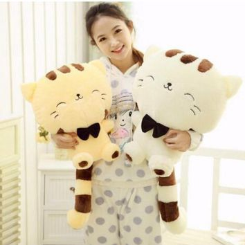 45CM/60CM Lovely Big Face Smiling Cat Stuffed Toys Soft Plush Animal Dolls Christmas Gifts for Kids animais brinquedo