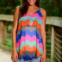 Chevron Takeover Tank, Blue/Pink