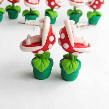 SALE!! - Super Mario Bros Earrings Stud Piranha Plant Yoshi Nintendo Red/Green HandMade Polymer Clay 3D Geek Video Game Gift her Woman Hi...