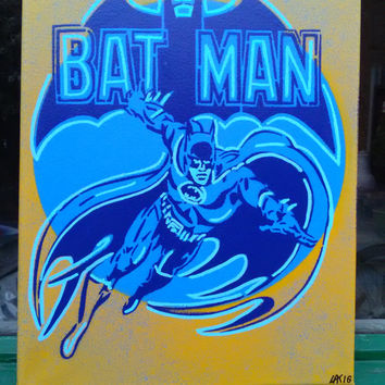 Batman painting, stencils,spray paint art,canvas,blue,yellow,D.C.Comics,Gotham,classic,kids,gift,super hero,pop art,stencil,art,bruce wayne,
