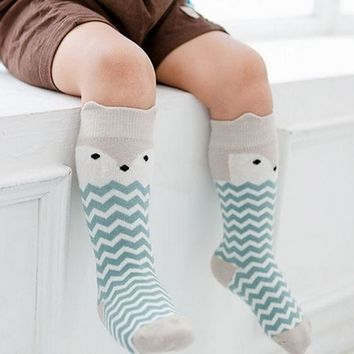 2016 Cartoon Socks Cotton Anti-slip sock Newborn Toddler Knee High Sock Baby Animals Socks Leg Warmers For Newborns