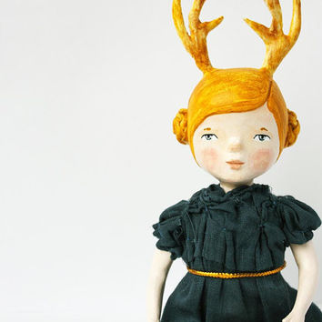 Antler girl art doll - Woodland articulated paper clay doll - One of a kind - Hand sculpted - handmade art doll