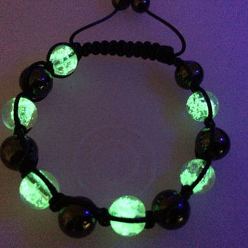 Glow in the dark bracelet , Glow in the dark jewelry , Gift Idea , Shamballa Bracelet , Mens Bracelet , Womens Bracelet , glowing bracelet