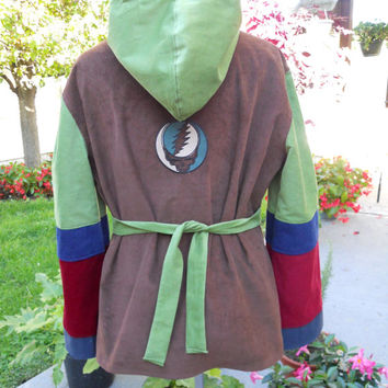 Earthy All Corduroy Grateful Dead Steal Your Face Hippie Patchwork Hoodie Peasant Tunic Shirt/Top with Long Bell Sleeves adjustable