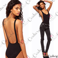 Womens Low Cut Backless Black White Ladies Bodysuit Body Leotard Vest Tank Top