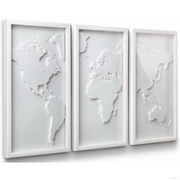 "Modern Wall decor ""The world in white"" color (3 Pieces)"