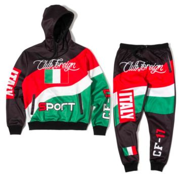 Club Foreign Sports Italy Three Color Hoodies and Sweatpants Suit Set