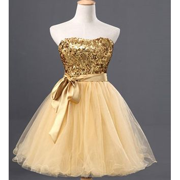 Gold Sequin Tulle Ball Gown Cocktail Dress Short 2017 Sweetheart Knee Length Party Dress Elegant