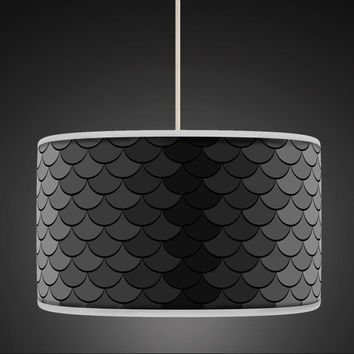 30cm Black Grey Retro Geometric Handmade Giclee Style Printed Fabric Lamp Drum Lampshade Floor or Ceiling Pendant Light Shade 459