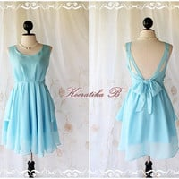 A Party V Shape - Prom Party Cocktail Bridesmaid Dinner Wedding Night Dress Baby Light Blue Sweet Gorgeous Glamorous Dress