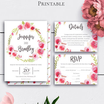 Rose Wreath Shabby Chic Wedding Set, Romantic Invitations, Watercolor Wreath, Details Card, RSVP Card, Vintage Floral Printable Invite