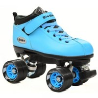 Riedell Dart Ice Blue Quad Roller Speed Skates w/ 2 Pair of Laces (Black & Ice Bllue)