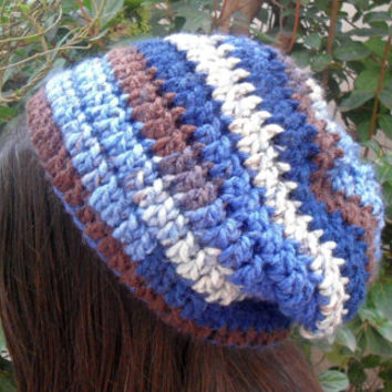 Womens Slouchy Beanie, Crochet Slouchy Hat, Winter Hat, Brown Blue Beanie, Teen Girl Hat, Chunky Oversized, Baggy Hat, Slouch Beanie Hat