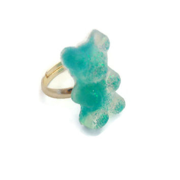 Glittery Gummy Bear Candy Ring Blue