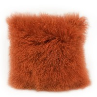 Lamb Fur Pillow Orange Wool