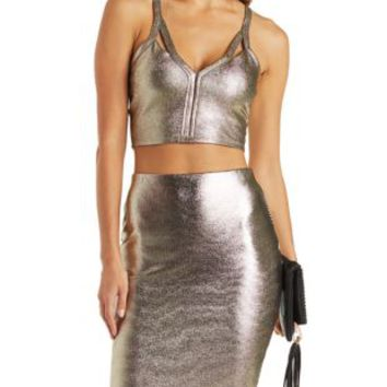 Gold Metallic Shimmer Racer Crop Top by Charlotte Russe