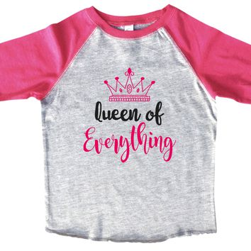 Queen Of Everything BOYS OR GIRLS BASEBALL 3/4 SLEEVE RAGLAN - VERY SOFT TRENDY SHIRT B1004