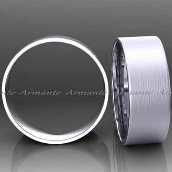 Mens Wedding Band, 14K White Gold, Brushed, 8.00mm Wide