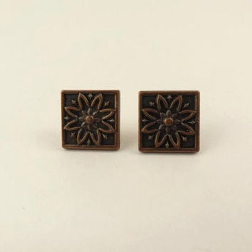 Tiny Square Copper Toned Post Earrings with Engraved by toppytoppy