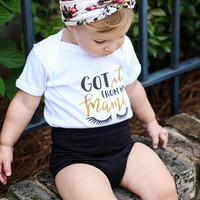 Got it from my mama quote baby Onesuit for newborn, 6 months, 12 months, and 18 months funny graphic baby Onesuit