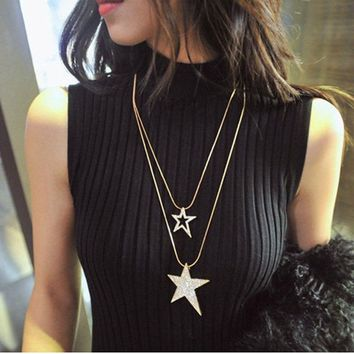 Hot Lady Women Necklace Double Chains Star Pendent Double Layered Long Chain