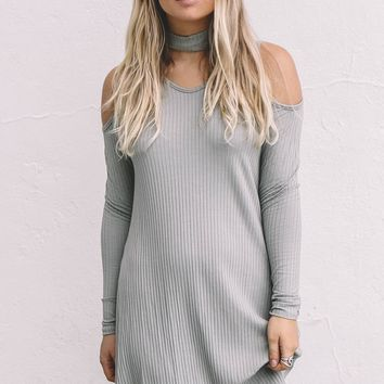 Everlong Olive Ribbed Mini Dress