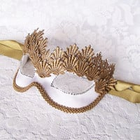 Victorian Style White And Gold Masquerade Mask - Rhinestones Embellished Venetian Mask Decorated With Gold Lace Embroidery