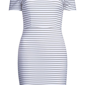 White Off Shoulder Stripe Print Bodycon Dress