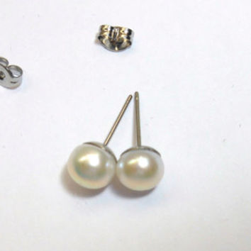 Pearl Stud Earrings on Surgical Stainless Steel Posts and butterfly clutches