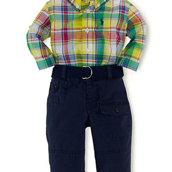 Ralph Lauren Childrenswear Baby Boys Plaid Shirt with Webbed Belt and Chino Set