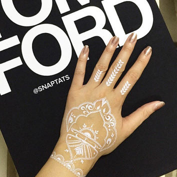 5 sheets -White Henna, Temporary Tattoos, Metallic Temporary Tattoos, Jewelry Tattoos, Gold Foil Tattoos