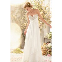 Gorgeous Strapless Backless Chiffon Floor Length Wedding Dress