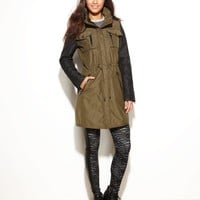 Laundry by Shelli Segal Coat, Hooded Colorblock Anorak