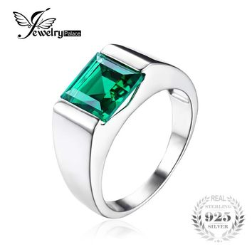 JewelryPalace Classic Fashion 2.34ct Emerald Wedding Ring For Mens Sets Genuine 925 Solid Sterling Sliver Jwelry