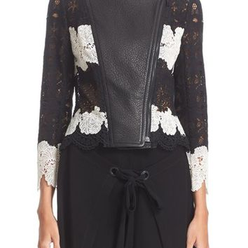 Yigal Azrouël Lace & Leather Moto Jacket | Nordstrom