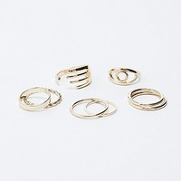Eye and Hand Ring Pack in Gold - Urban Outfitters