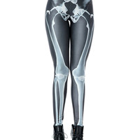 Black Skeleton Print Leggings