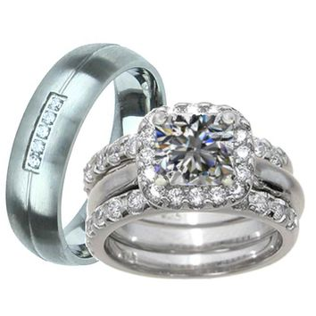 His Her 4 Pc White Gold Rhodium Sterling Silver Wedding Ring Set