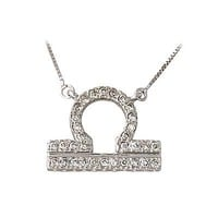 .32ctw Diamond Libra Zodiac Pendant 14K White Gold (Sept 23 - Oct 22)