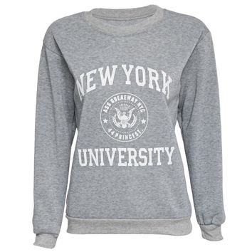 Chic Round Collar Long Sleeve Letter Print Sweatshirt for Ladies