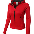 LE3NO PREMIUM Womens Athletic Zip Up Long Sleeve Sports Running Jacket with Hoodie