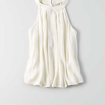 AEO Hi-Neck Zip Back Tank , Chalk