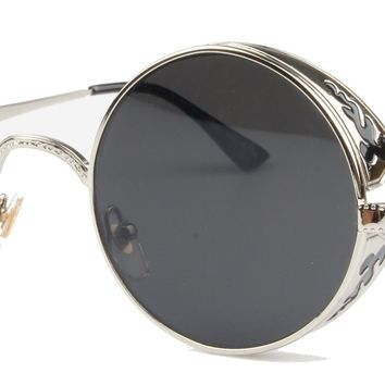 Vivian & Vincent Vintage Hippie Retro Metal Round Circle Frame Sunglasses (Gold Frame Black Lens)